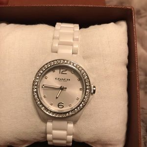 Coach watch white with crystals.